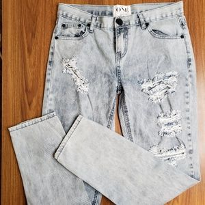 one teaspoon distressed acid wash jeans 27